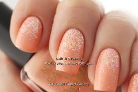peach glitter ombre nails funky fingers factory