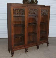 Antique Oak Bookcase With Glass Doors Antique Quartersawn Oak 3 Door Bookcase Cabinet W Fretwork Glass