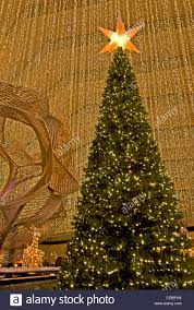 the christmas tree in the lobby of the hyatt regency hotel san