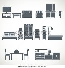 Home Interior Vector by Vector Home Furniture Silhouette Icons 2 Stock Vector 417227968