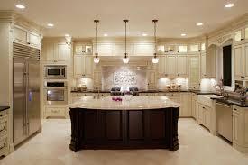 bright u shaped kitchen design with cream cabinet 9117