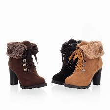 womens boots heels winter faux suede ankle boots high heels lace up platform