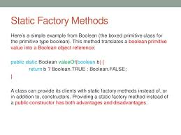 factory pattern in java with exle java static factory methods