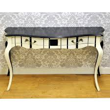 French Style Furniture by Black U0026 Cream Stripe Painted Hall Console Table Funky Hand