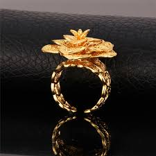 flower gold rings images Kpop vintage big flower rings for women gold silver rose gold jpg