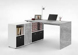 Schreibtisch Buche Massiv H Enverstellbar Schreibtisch In Weiß Mit Abs In Betonoptik Schreibtischplatte