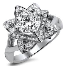 wedding rings flower images Noori 14k white gold 1ct tdw diamond lotus flower engagement ring jpg