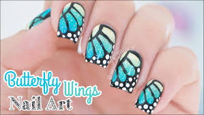 butterfly wings with gradient nail art youtube