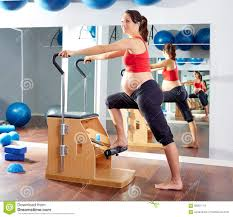 Chair Gym Com Pregnant Woman Pilates Exercise Wunda Chair Stock Photo Image