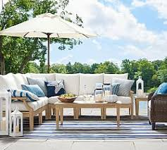 Outdoor Sofa Sectional Set Outdoor Wood Sofas U0026 Sectionals Pottery Barn