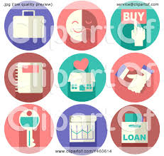 clipart of real estate icons like briefcase buy button emotion