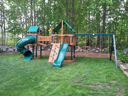 exterior exciting backyard design with gorilla playsets
