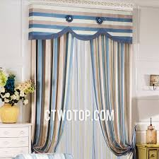 Blue And White Striped Drapes Brown And Blue Casual Fabric Traditional Custom Striped Curtains
