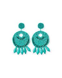 on earrings kenneth beaded hoop drop clip on earrings turquoise
