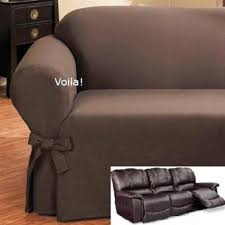 Leather Sofas Covers Reclining Sofa Slipcover Ribbed Texture Chocolate Adapted For Dual