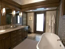 brown bathroom ideas rustic bathroom lighting hgtv