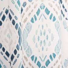 White Curtains With Blue Pattern Cotton Canvas Mosaic Medallion Curtain Blue Lagoon Set Of 2