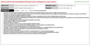 computer programmer resume sample
