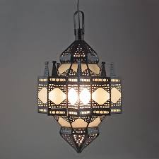 Punched Tin Pendant Light Large Moroccan Punched Tin And Frosted Glass Hanging Light