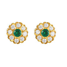 gold ear ring image vintage diamond emerald gold earring
