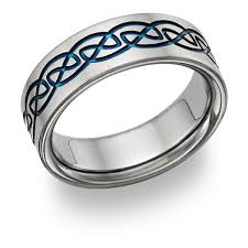 titanium celtic wedding bands blue titanium celtic wedding band ring