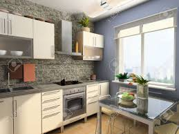 modern kitchen interior 3d computer generated image stock
