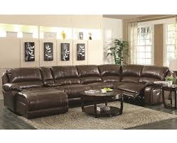 Dallas Sectional Sofa Brown Bonded Leather Upholstered 6 Reclining Sectional Sofa