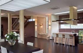 fresh modern open kitchen dining plan with pillars and breakfast