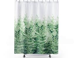 Shower Curtain With Tree Design Green Shower Curtain Etsy