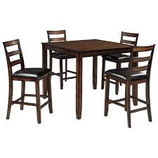 burnished brown 5 piece dining room counter table set by signature
