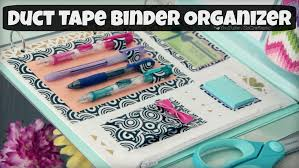 diy binder organizer duct tape zipper pouch u0026 pen holder