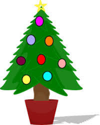 tree with rainbow color ornaments clip at clker
