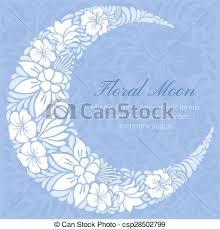 floral design decorated crescent moon light vector eps vectors