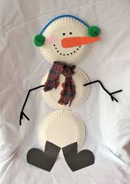 snowman paper plates pom poms pipe cleaners construction