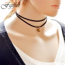 cute necklace chokers images Cute bell necklace black velvet choker multilayer wrap necklace jpg