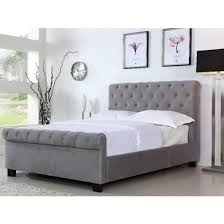 Grey Sleigh Bed Safina Roll Top Sleigh Bed Frame In Grey Velvet Bedrooms