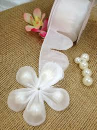 pull bow ribbon white flower petal pull bow almonds candy bow ribbon decor