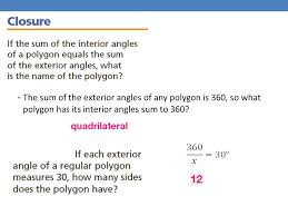 What Is Interior And Exterior Angles 3 5 The Polygon Angle Sum Theorems Ppt Online Download