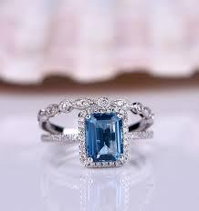 topaz engagement ring topaz ring set london blue topaz engagement ring emerald cut