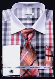 checker pattern dress shirt tie hanky combo free cufflinks