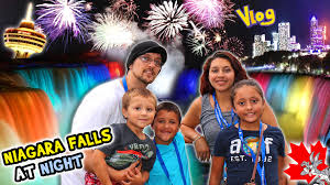 niagara falls at night family trip canada pt 1 waterfall