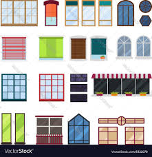 different types house windows elements royalty free vector