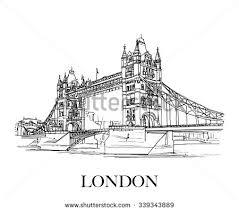 tower bridge london uk hand drawn stock vector 339343889