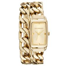 watches with chain bracelet images Lyst karl lagerfeld womens kourbe gold tone stainless steel jpeg