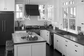 White Laminate Wood Flooring Black And White Kitchens Kitchen Cabinets White Painted Wall Grey