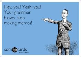Grammar Memes - hey you yeah you your grammar blows stop making memes
