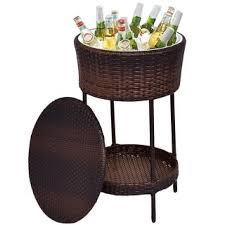 Patio Cooler Table Costway Patio Cooler Brown Outdoor Wicker Storage