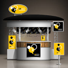 black and yellow exhibition stand design with dialog clouds