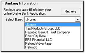 bank information setup in drake software