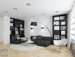 Home Interior Design Drawing Room by Living Room Arch Lamp Beside The Cozy Black Sectional Sofa